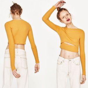 Zara Join Life Yellow Long Sleeve Crop Top Cutout